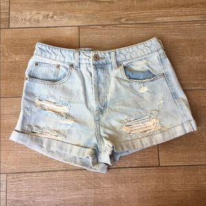 F21 Distressed Light Washed High Waisted Shorts